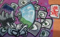 Граффити, глаза, арт, стена