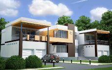 Современный загородный дом на две семьи