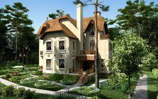Трехэтажный дом в лесу