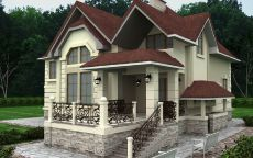 Белый дом с красной черепицей
