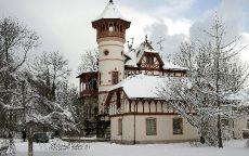 Маленький замок в снежном лесу.