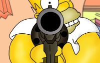 Гомер Симпсон целится из пистолета