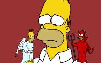 Ангел и демон на плечах Гомера Симпсона