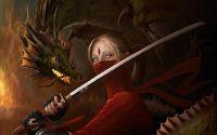 Девушка дракон с катаной
