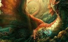 рт, Большой дракон, сокровища, рыцарь, меч, битва