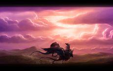 Дракон на фоне розового неба