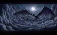 Дракон в ночном небе на фоне луны