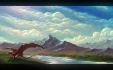 Дракон на фоне гор