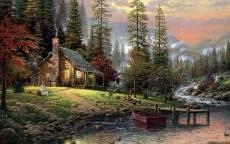 Фантастика, Томас Кинкейд, воображаемый мир, уютный дом, река, лодка у причала, лес