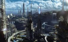 Город будущего, небоскребы, фантастика, мегаполис