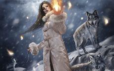 Девушка вожак стаи волков