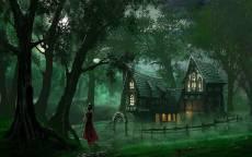 Фэнтези, сказка, вечер, лес, дом, девушка, красное платье