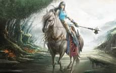 Фэнтези, белая лошадь, наездница, оружие, лес, воительница, амазонка
