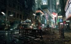 Фантастика, город будущего, летающая машина, дождь, ремонт дороги