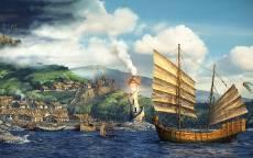 Арт, Городок, маяк, корабль, зеленые холмы