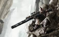 Снайпер, горы, маскировка, позиция, карабин, оптический прицел