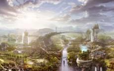 Сказочный город, мост, река, каменные столбы, светящийся шар