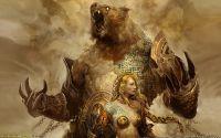Девушка с боевым медведем