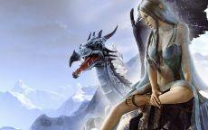 Эльфийка с драконом