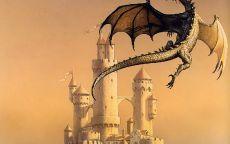 Дракон парит над замком