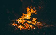 Огонь, ночь, костер, дрова, уголь