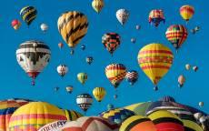 Воздушные шары, гондола, синее небо