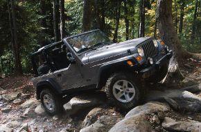 Jeep wrangler преодолевает бездорожье