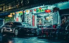 ночь, черный мерседес, китайский квартал