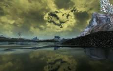 Картина, холодное озеро, пасмурная погода