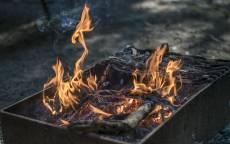 Огонь, мангал, пепел, дрова, вечер, дым