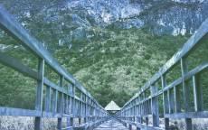 Деревянный мост, природа, пейзаж, скалы