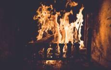 Огонь, камин, пламя, дрова