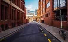 пустая дорога, городская дорога, велосипед, асфальт