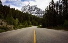 пустая дорога, хвойный лес, гора, снег