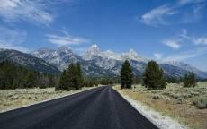 Дорога в горах, поворот, горы, деревья