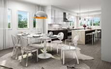 Белая дизайнерская кухня с современной мебелью
