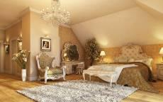 Спальня в стиле барокко, кресло, кровать, ковер, люстра