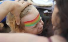 Ребенок, лицо, аквагрим, радуга, краска