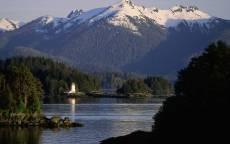 Аляска, горы, лес, маяк, вода