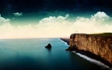 Утес, обрыв, море, маяк, островок