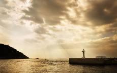 Остров, маяк, море, вечер