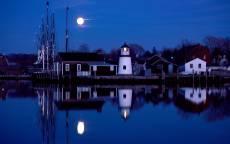 Пистань, маяк, ночь, луна