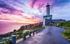 Испания, маяк, красивый восход, дорога к маяку, море