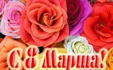 Открытка 8 марта розы