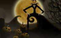 картинка, рисунок,хэллоуин, луна, ночь, тыквы