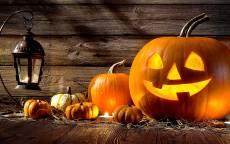 Веселая оранжевая тыква Хеллоуин Праздника