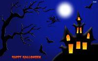 Хелуин Замок и ведьма на метле