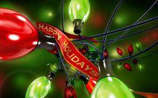 Новогодняя гирлянда с красной лентой