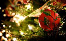 новогодняя игрушка красный шар на елке