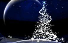 Новогодняя открытка сверкающая елка